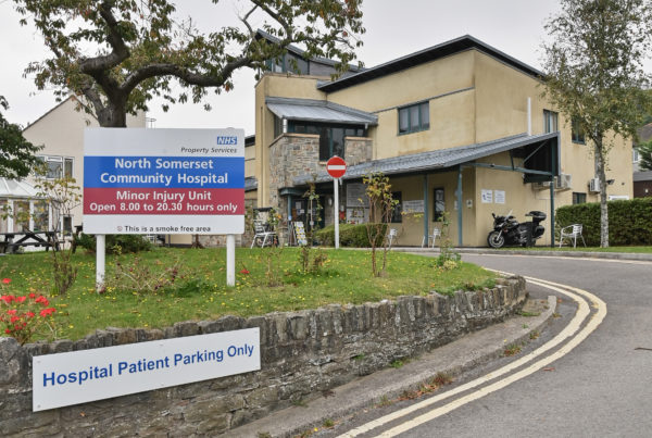 View of Clevedon hospital exterior from the driveway