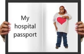 hospital passport with woman pointing at herself