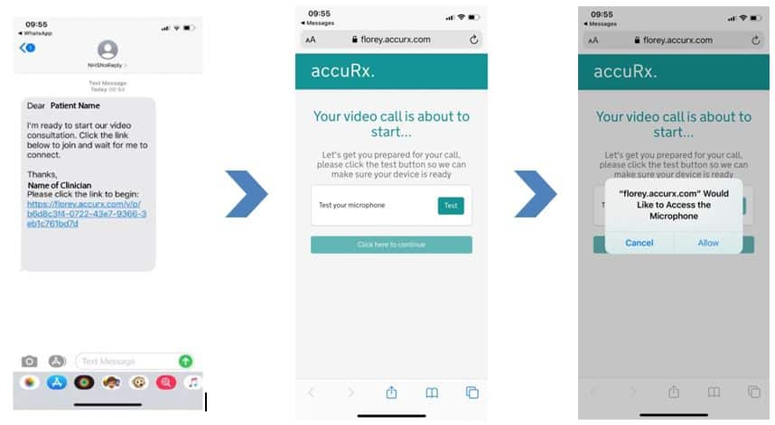 3 screen shots show the beginning of the video consultation process. Image 1 shows a view of the text message on a phone screen, which includes a link highlighted in blue to click to access the call. Image 2 is a screenshot stating the video call is about to start and has the option to test your microphone before the call. Image 3 shows a pop up box on the screen where accuRx is requesting access to your device microphone, please click 'allow'